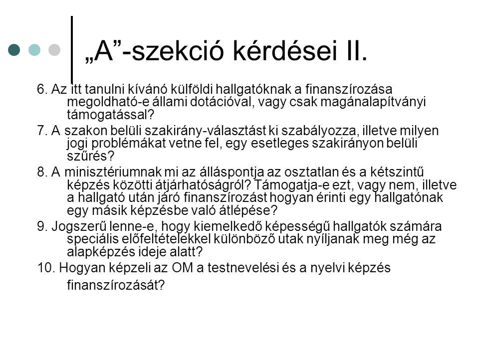 """""""A -szekció kérdései II.6."""
