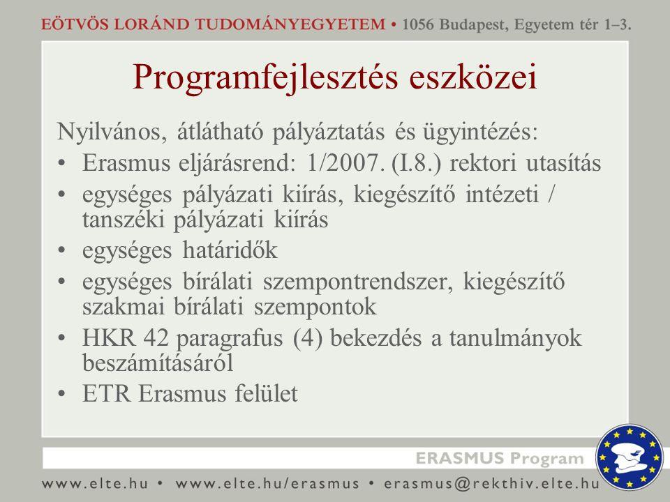 Programfejlesztés eszközei Nyilvános, átlátható pályáztatás és ügyintézés: Erasmus eljárásrend: 1/2007. (I.8.) rektori utasítás egységes pályázati kií