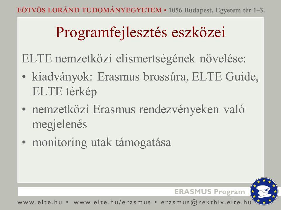 Programfejlesztés eszközei ELTE nemzetközi elismertségének növelése: kiadványok: Erasmus brossúra, ELTE Guide, ELTE térkép nemzetközi Erasmus rendezvé