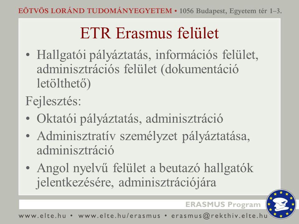 ETR Erasmus felület Hallgatói pályáztatás, információs felület, adminisztrációs felület (dokumentáció letölthető) Fejlesztés: Oktatói pályáztatás, adm
