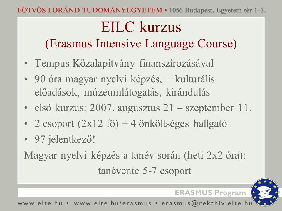 EILC kurzus (Erasmus Intensive Language Course) Tempus Közalapítvány finanszírozásával 90 óra magyar nyelvi képzés, + kulturális előadások, múzeumláto