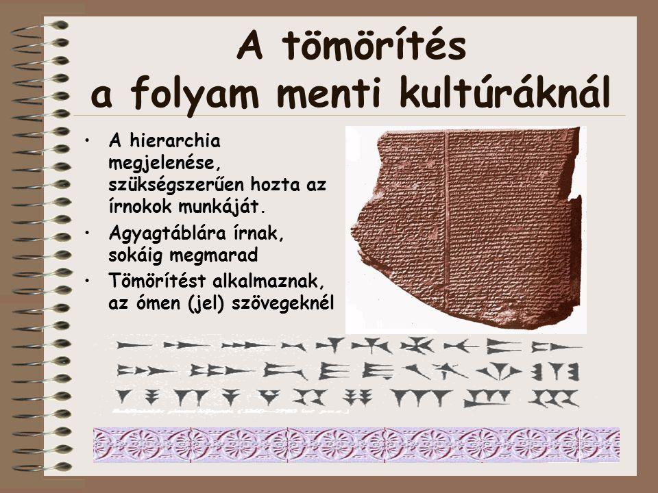 A tömörítés a folyam menti kultúráknál Forrás: Dr. Mikonya György Neveléstörténet órájából Mezopotámiai Babiloni kultúrkör (Kr. e. 3000-331)
