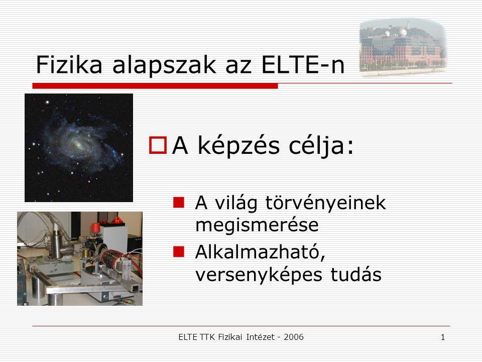 ELTE TTK Fizikai Intézet - 20061 Fizika alapszak az ELTE-n  A képzés célja: A világ törvényeinek megismerése Alkalmazható, versenyképes tudás