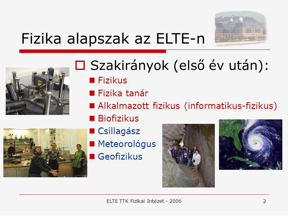 ELTE TTK Fizikai Intézet - 20062 Fizika alapszak az ELTE-n  Szakirányok (első év után): Fizikus Fizika tanár Alkalmazott fizikus (informatikus-fiziku
