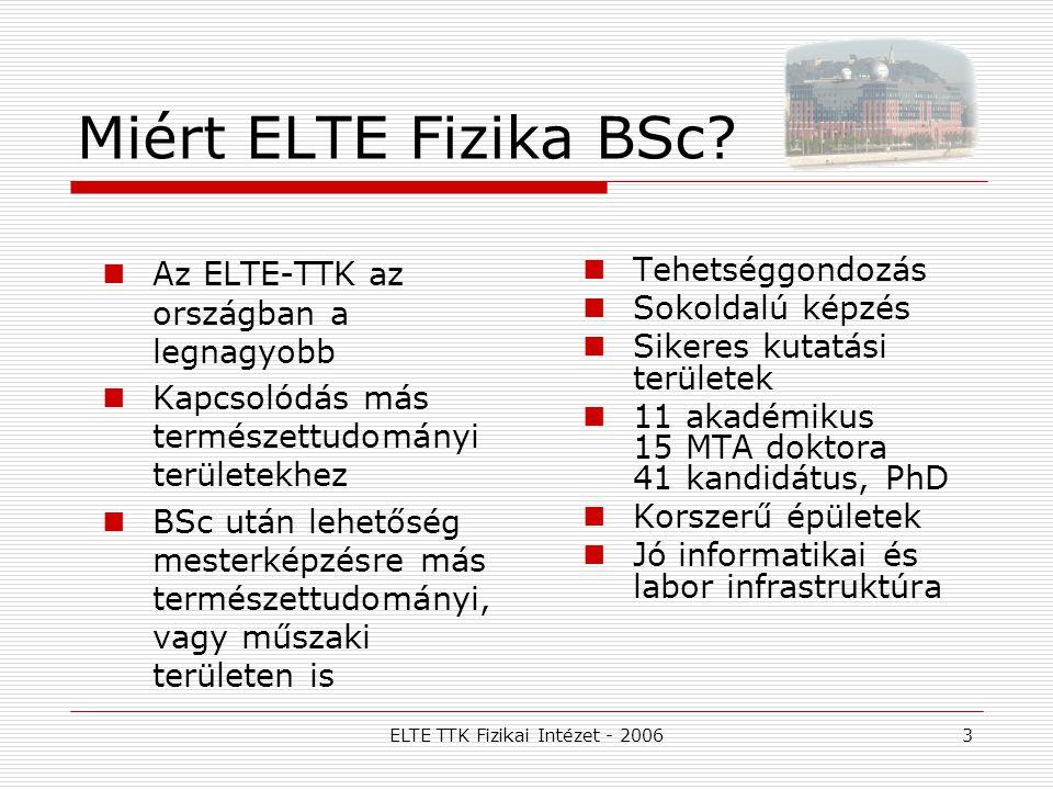 ELTE TTK Fizikai Intézet - 20063 Miért ELTE Fizika BSc? Az ELTE-TTK az országban a legnagyobb Kapcsolódás más természettudományi területekhez BSc után