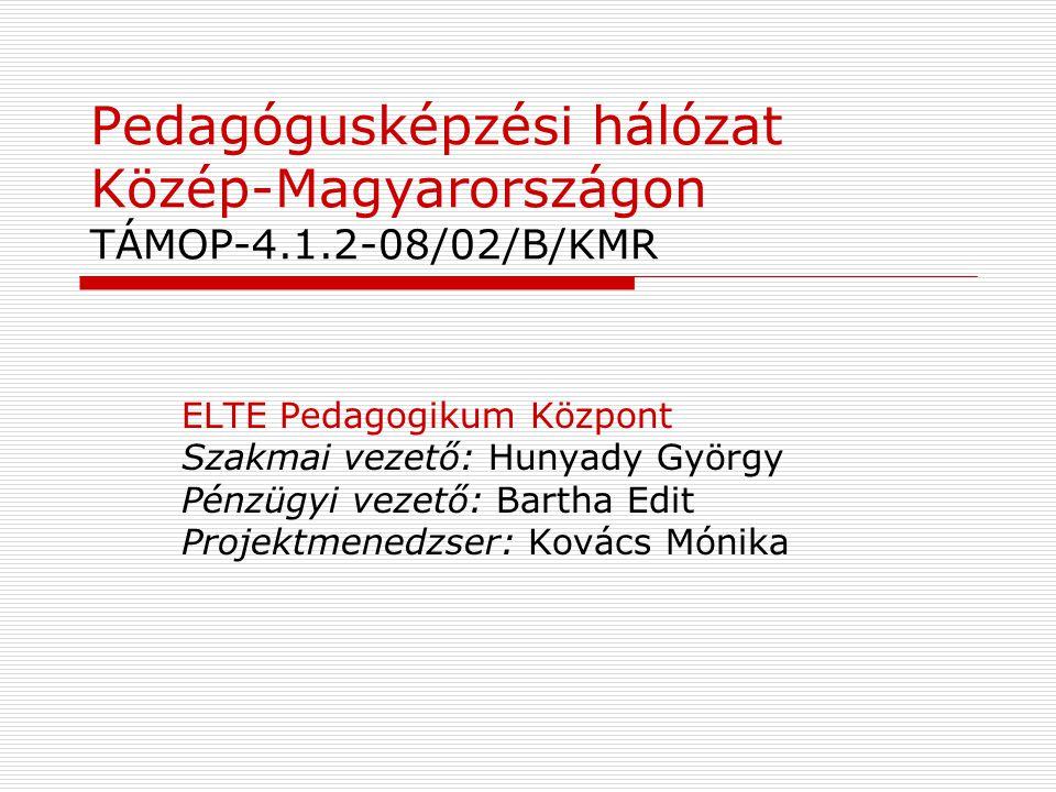 Pedagógusképzési hálózat Közép-Magyarországon TÁMOP-4.1.2-08/02/B/KMR ELTE Pedagogikum Központ Szakmai vezető: Hunyady György Pénzügyi vezető: Bartha
