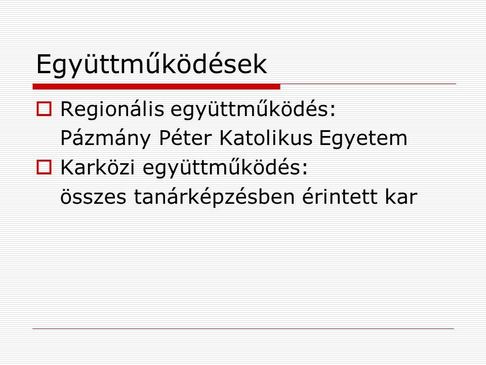 Együttműködések  Regionális együttműködés: Pázmány Péter Katolikus Egyetem  Karközi együttműködés: összes tanárképzésben érintett kar