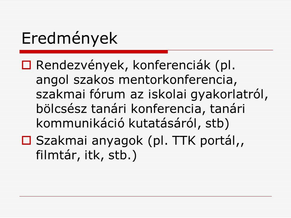 Eredmények  Rendezvények, konferenciák (pl.