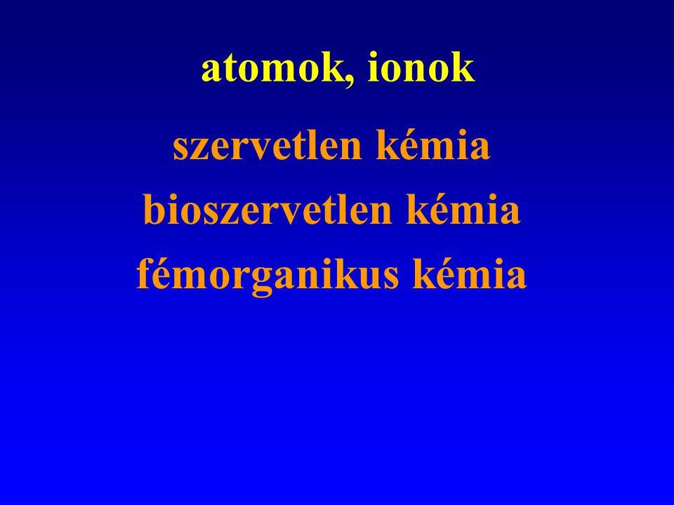 molekulák szervetlen kémia szerves kémia bioszerves kémia biokémia elméleti kémia
