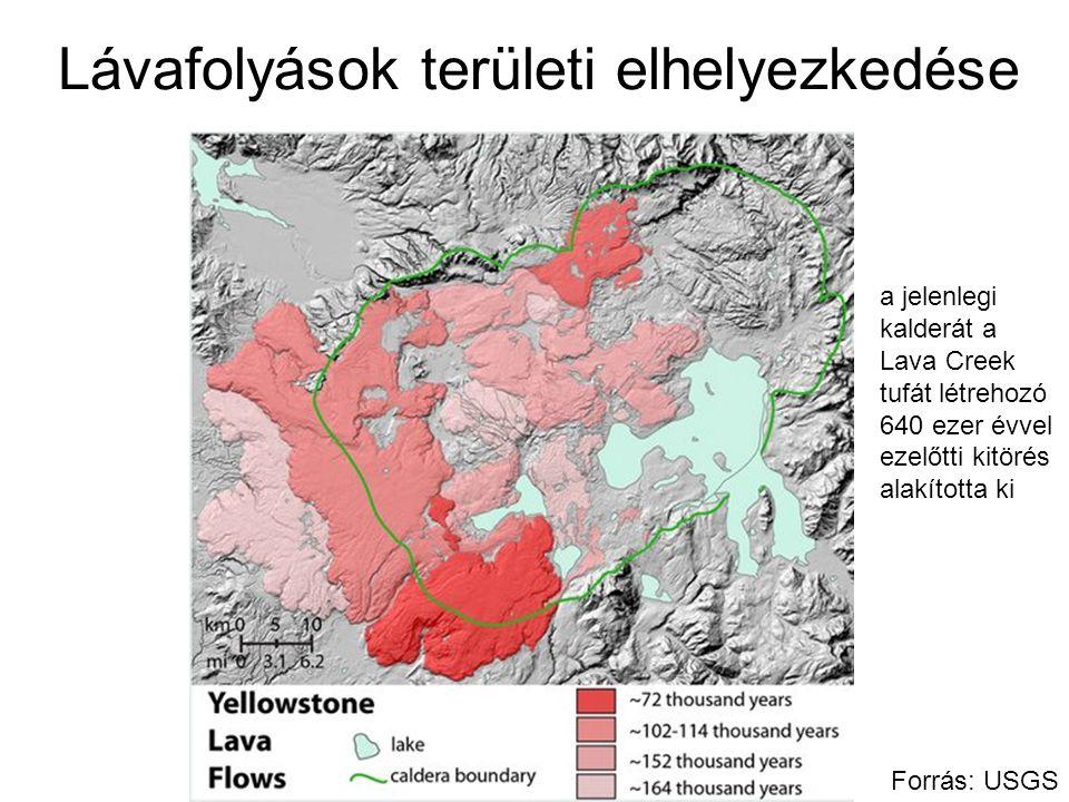 Lávafolyások területi elhelyezkedése Forrás: USGS a jelenlegi kalderát a Lava Creek tufát létrehozó 640 ezer évvel ezelőtti kitörés alakította ki