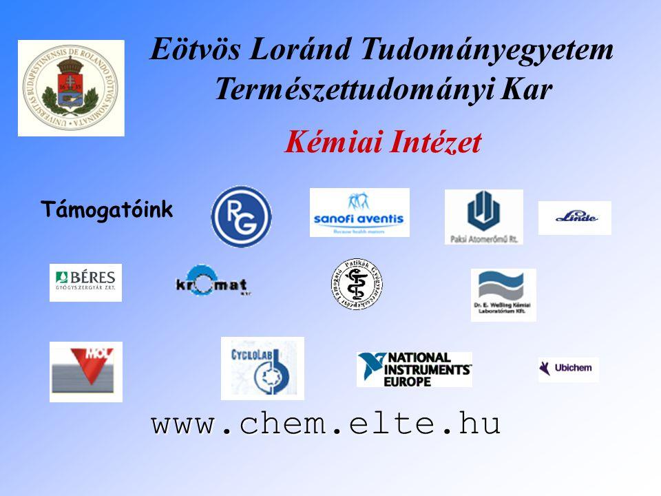 Eötvös Loránd Tudományegyetem Természettudományi Kar Kémiai Intézet www.chem.elte.hu Támogatóink