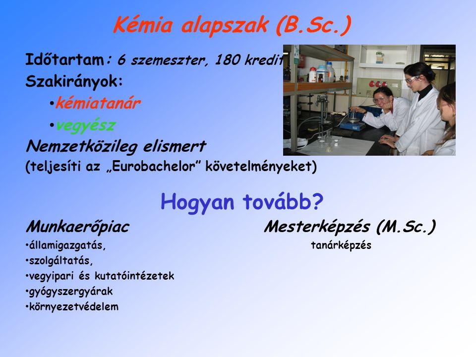 """Kémia alapszak (B.Sc.) Időtartam: 6 szemeszter, 180 kredit Szakirányok: kémiatanár vegyész Nemzetközileg elismert (teljesíti az """"Eurobachelor követelményeket) Hogyan tovább."""