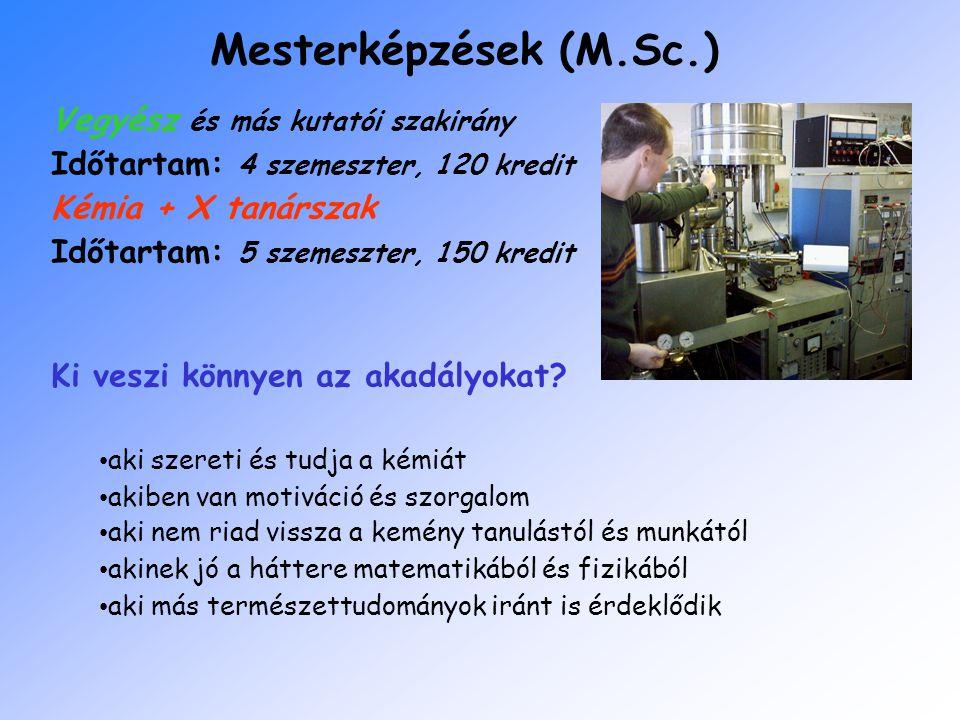 Mesterképzések (M.Sc.) Vegyész és más kutatói szakirány Időtartam: 4 szemeszter, 120 kredit Kémia + X tanárszak Időtartam: 5 szemeszter, 150 kredit Ki veszi könnyen az akadályokat.