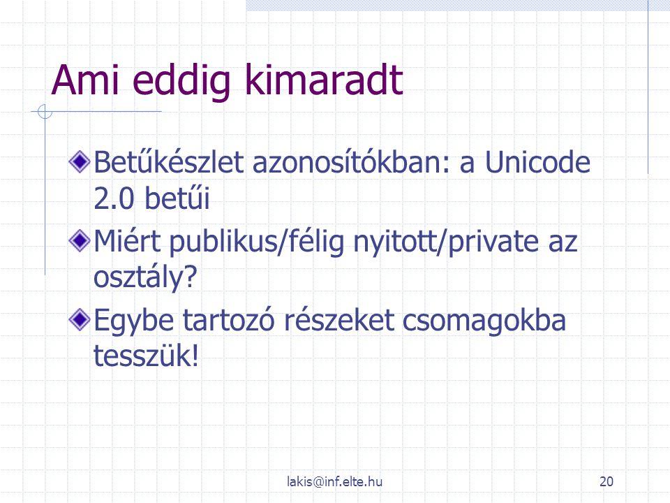lakis@inf.elte.hu20 Ami eddig kimaradt Betűkészlet azonosítókban: a Unicode 2.0 betűi Miért publikus/félig nyitott/private az osztály? Egybe tartozó r