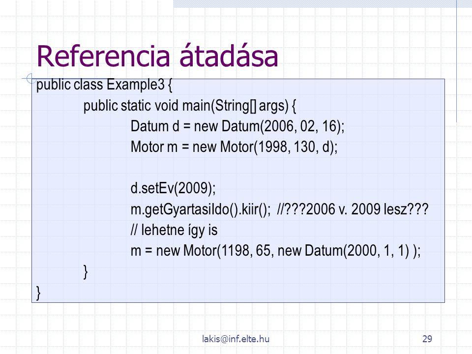 lakis@inf.elte.hu29 Referencia átadása public class Example3 { public static void main(String[] args) { Datum d = new Datum(2006, 02, 16); Motor m = n