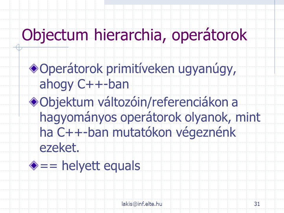 lakis@inf.elte.hu31 Objectum hierarchia, operátorok Operátorok primitíveken ugyanúgy, ahogy C++-ban Objektum változóin/referenciákon a hagyományos ope