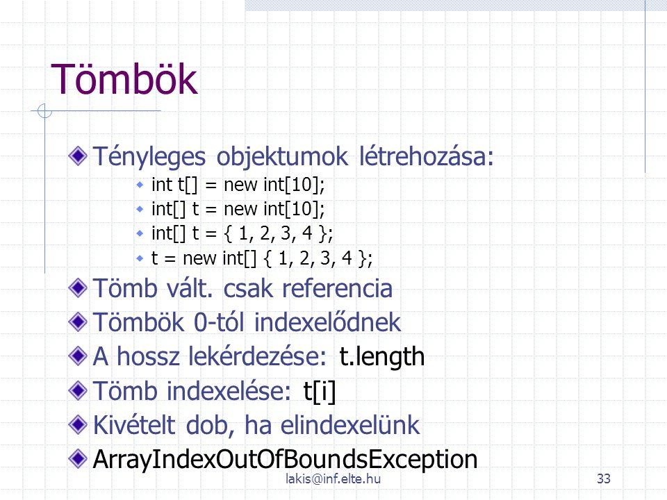 lakis@inf.elte.hu33 Tömbök Tényleges objektumok létrehozása:  int t[] = new int[10];  int[] t = new int[10];  int[] t = { 1, 2, 3, 4 };  t = new i