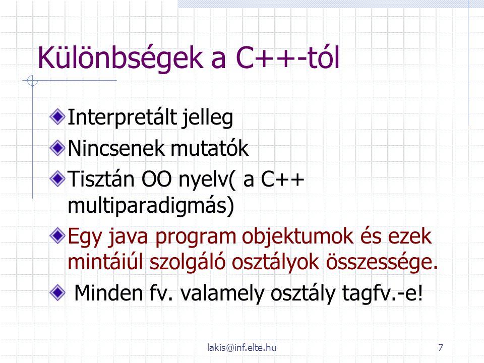lakis@inf.elte.hu7 Különbségek a C++-tól Interpretált jelleg Nincsenek mutatók Tisztán OO nyelv( a C++ multiparadigmás) Egy java program objektumok és