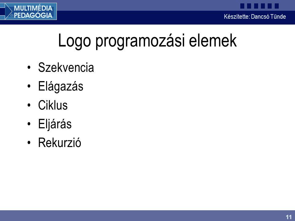 Készítette: Dancsó Tünde 11 Logo programozási elemek Szekvencia Elágazás Ciklus Eljárás Rekurzió