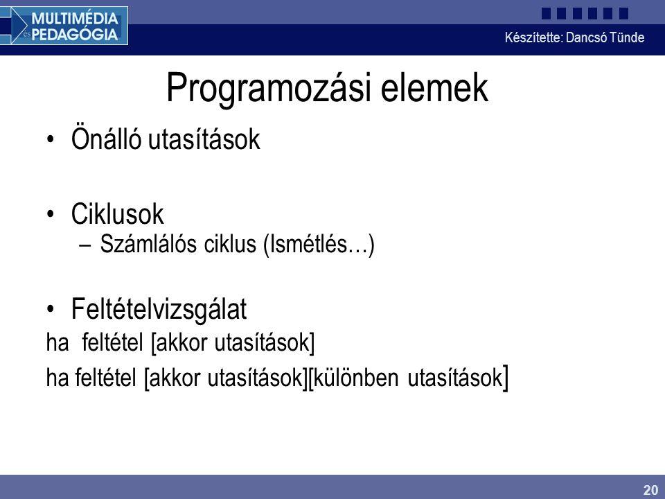 Készítette: Dancsó Tünde 20 Programozási elemek Önálló utasítások Ciklusok –Számlálós ciklus (Ismétlés…) Feltételvizsgálat ha feltétel [akkor utasítás