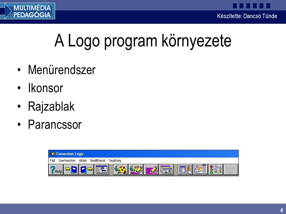 Készítette: Dancsó Tünde 4 A Logo program környezete Menürendszer Ikonsor Rajzablak Parancssor