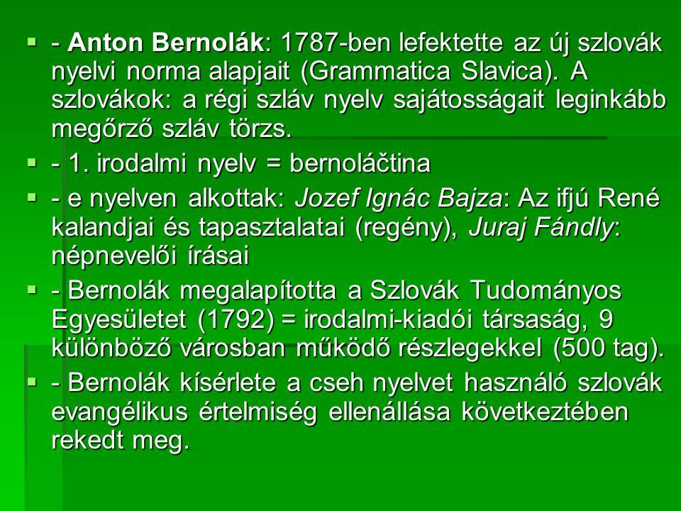  - Anton Bernolák: 1787-ben lefektette az új szlovák nyelvi norma alapjait (Grammatica Slavica).