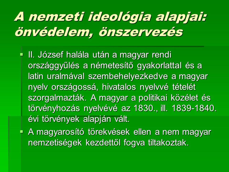 A nemzeti ideológia alapjai: önvédelem, önszervezés  II.