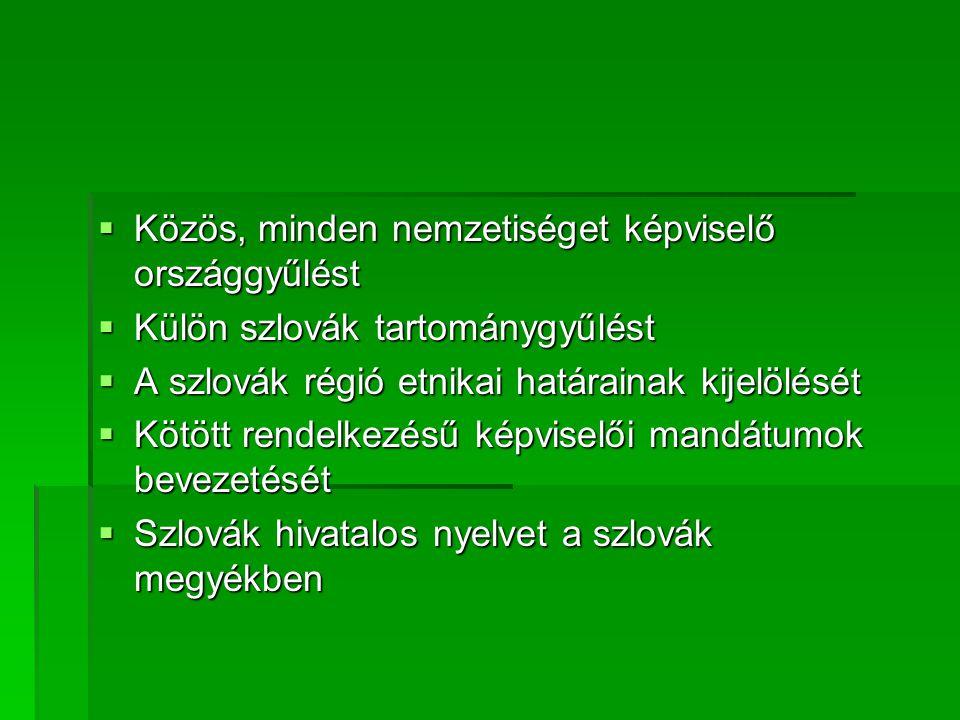  Közös, minden nemzetiséget képviselő országgyűlést  Külön szlovák tartománygyűlést  A szlovák régió etnikai határainak kijelölését  Kötött rendelkezésű képviselői mandátumok bevezetését  Szlovák hivatalos nyelvet a szlovák megyékben