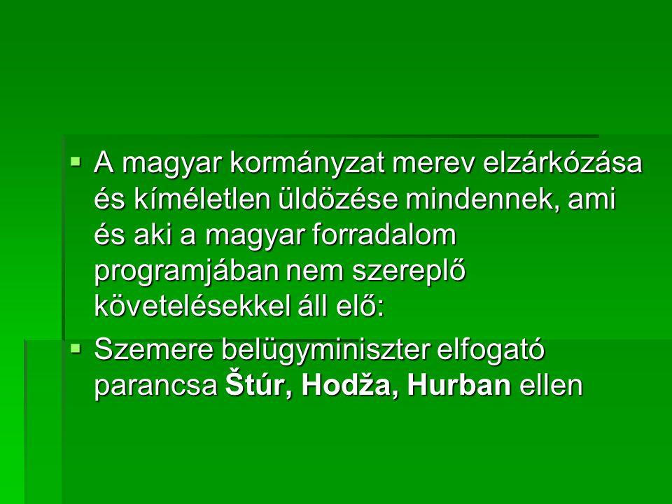  A magyar kormányzat merev elzárkózása és kíméletlen üldözése mindennek, ami és aki a magyar forradalom programjában nem szereplő követelésekkel áll elő:  Szemere belügyminiszter elfogató parancsa Štúr, Hodža, Hurban ellen