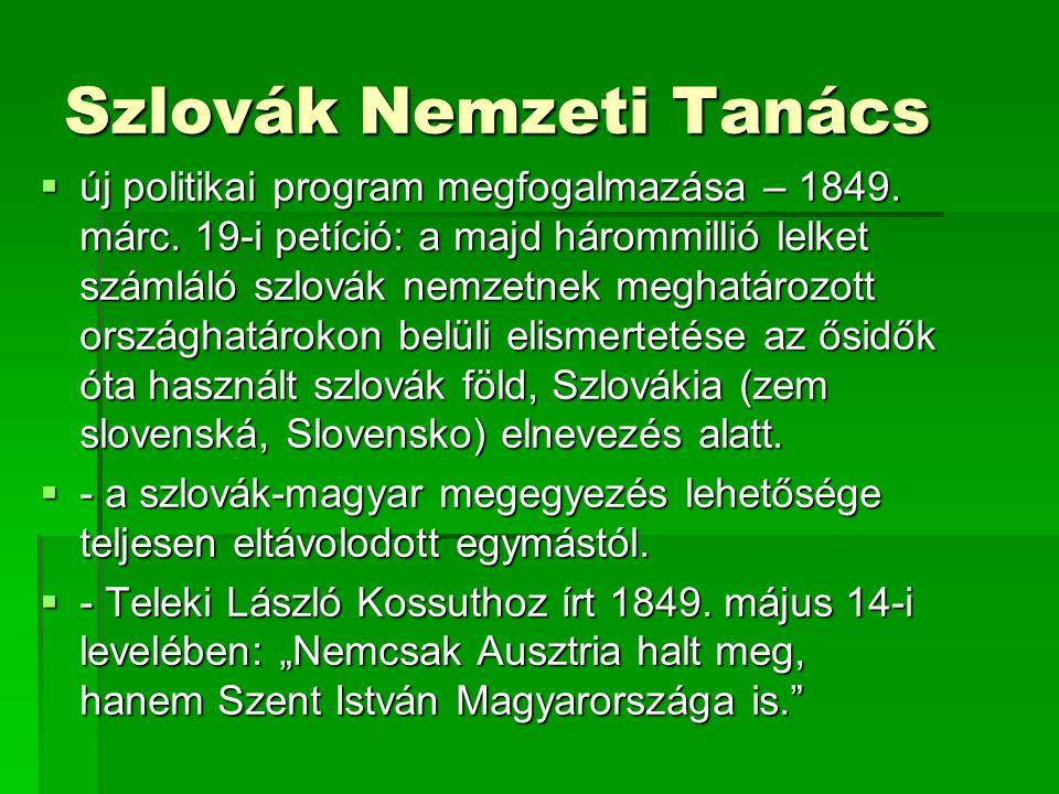Szlovák Nemzeti Tanács  új politikai program megfogalmazása – 1849.