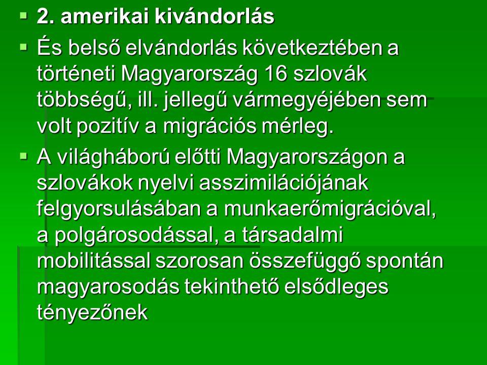  2. amerikai kivándorlás  És belső elvándorlás következtében a történeti Magyarország 16 szlovák többségű, ill. jellegű vármegyéjében sem volt pozit