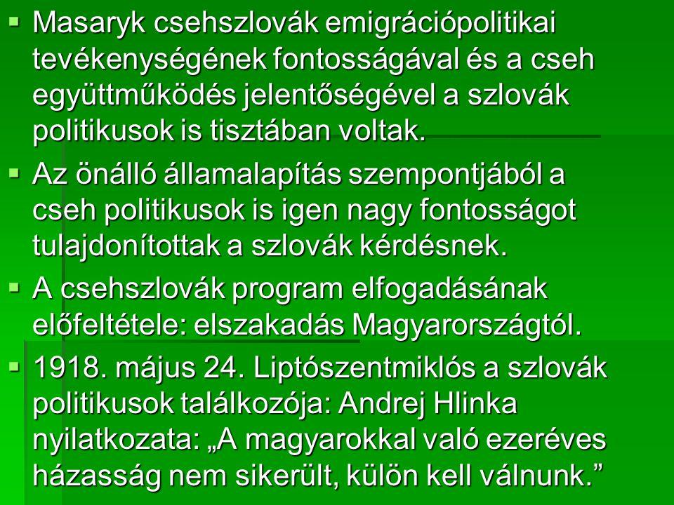  Masaryk csehszlovák emigrációpolitikai tevékenységének fontosságával és a cseh együttműködés jelentőségével a szlovák politikusok is tisztában voltak.