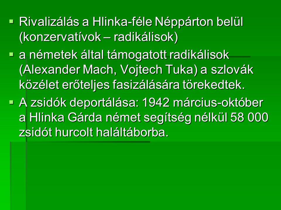  Rivalizálás a Hlinka-féle Néppárton belül (konzervatívok – radikálisok)  a németek által támogatott radikálisok (Alexander Mach, Vojtech Tuka) a szlovák közélet erőteljes fasizálására törekedtek.