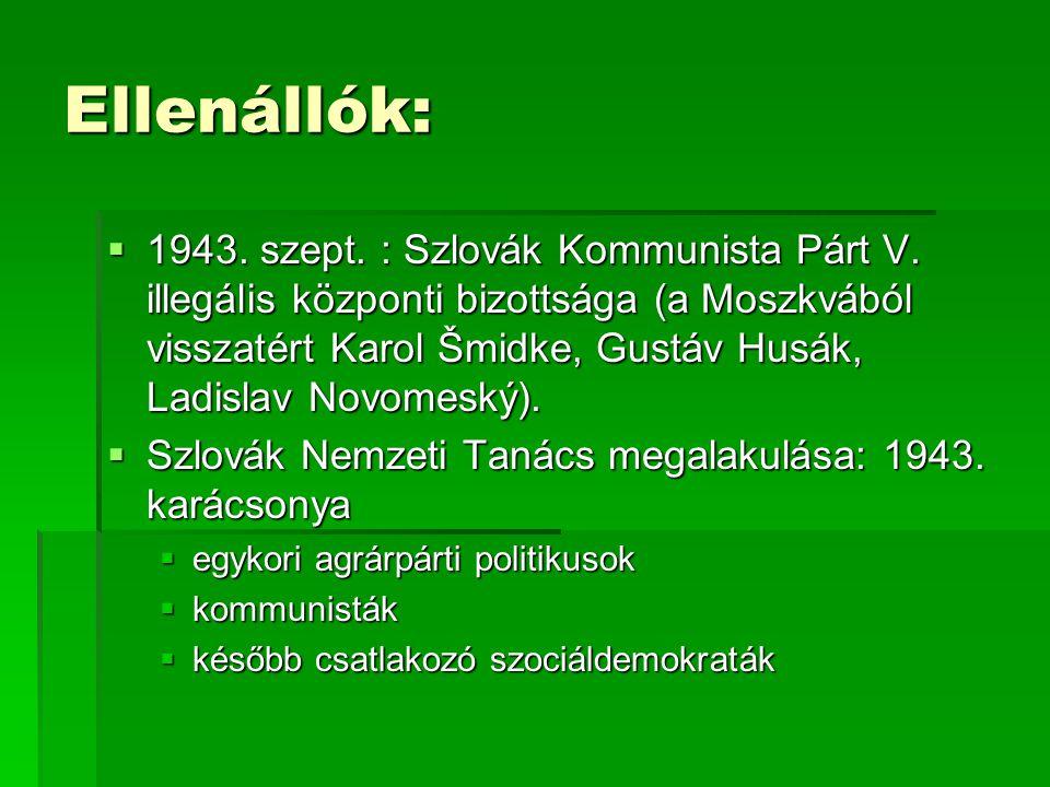 Ellenállók:  1943.szept. : Szlovák Kommunista Párt V.