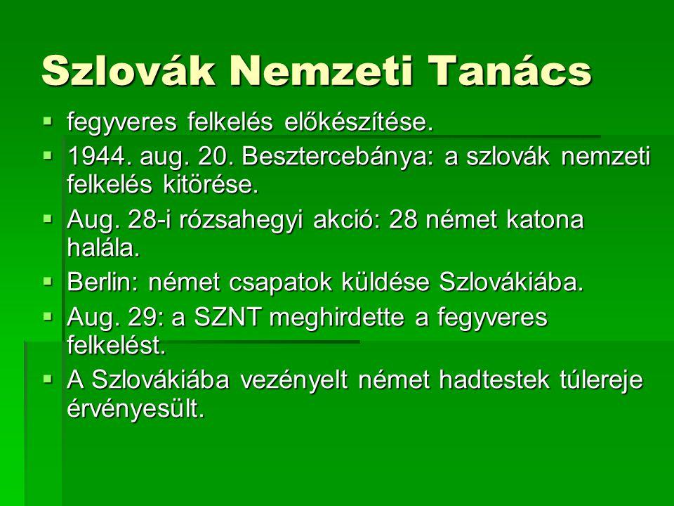 Szlovák Nemzeti Tanács  fegyveres felkelés előkészítése.