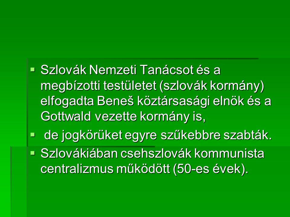  Szlovák Nemzeti Tanácsot és a megbízotti testületet (szlovák kormány) elfogadta Beneš köztársasági elnök és a Gottwald vezette kormány is,  de jogkörüket egyre szűkebbre szabták.