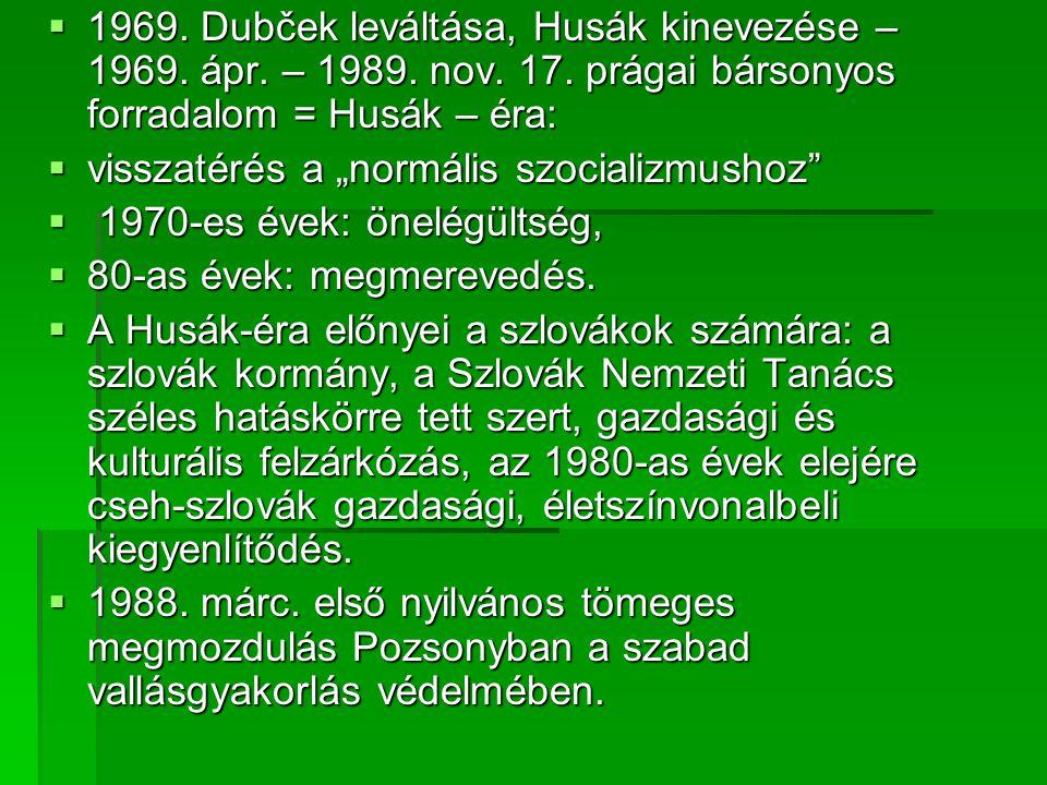  1969.Dubček leváltása, Husák kinevezése – 1969.