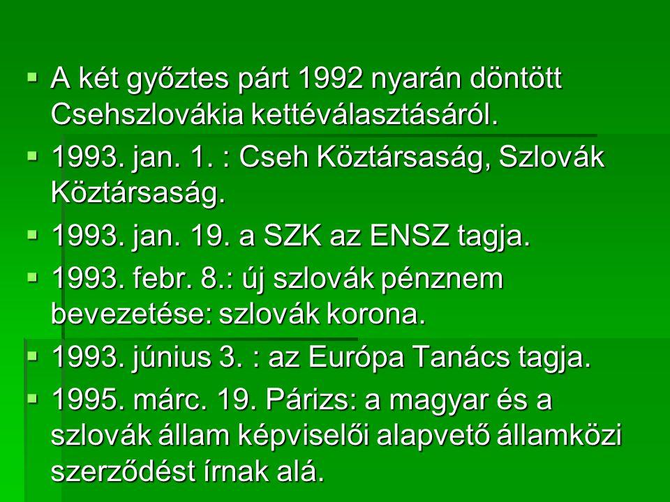  A két győztes párt 1992 nyarán döntött Csehszlovákia kettéválasztásáról.