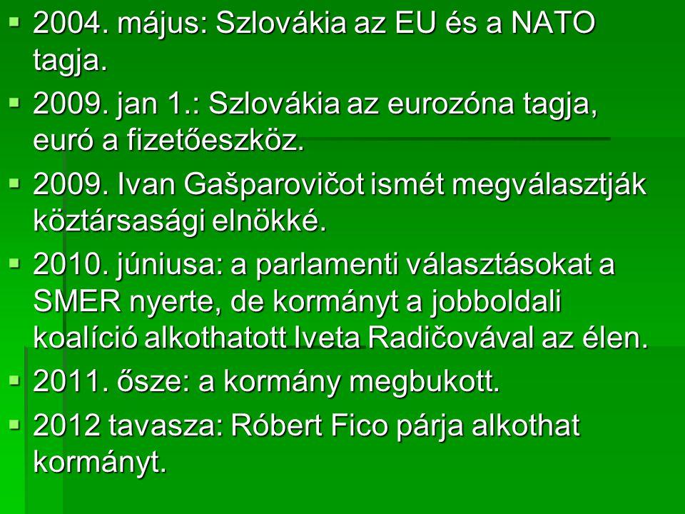  2004.május: Szlovákia az EU és a NATO tagja.  2009.