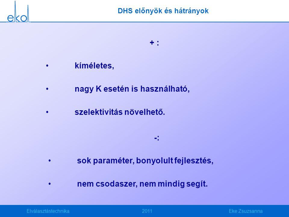 Elválasztástechnika2011Eke Zsuzsanna DHS előnyök és hátrányok + : kíméletes, nagy K esetén is használható, szelektivitás növelhető. -: sok paraméter,