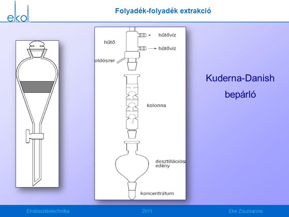 Elválasztástechnika2011Eke Zsuzsanna Folyadék-folyadék extrakció Kuderna-Danish bepárló