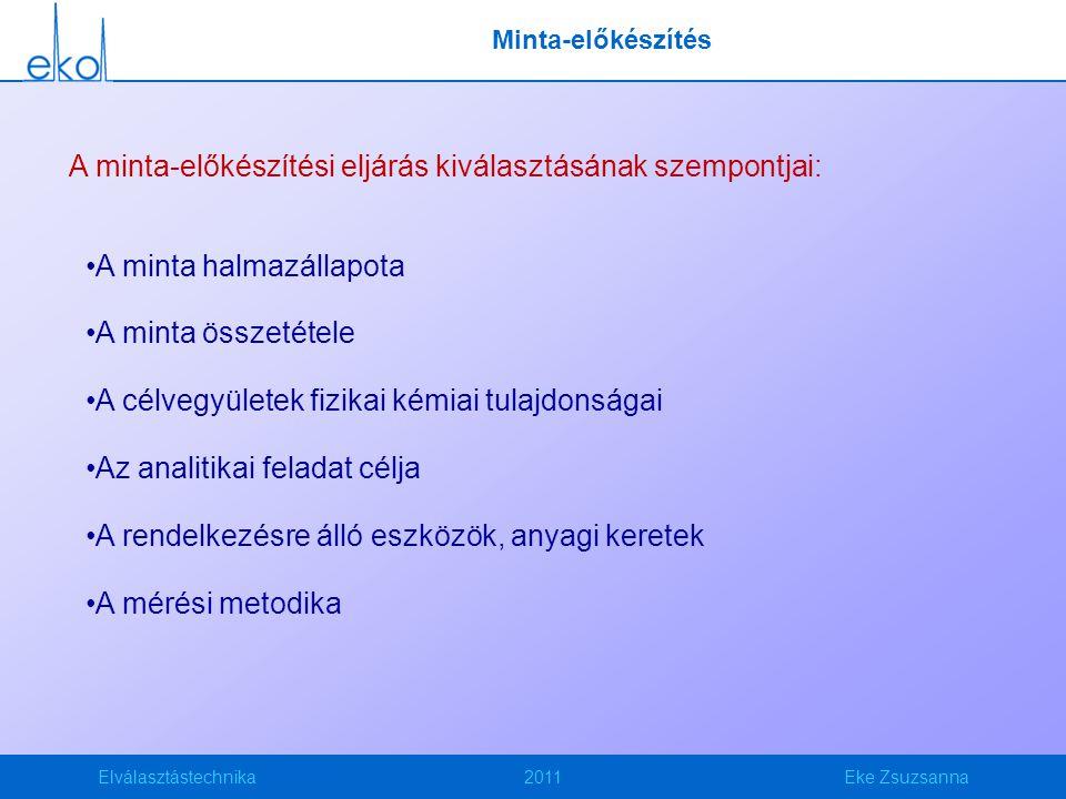 Elválasztástechnika2011Eke Zsuzsanna Minta-előkészítés A minta-előkészítési eljárás kiválasztásának szempontjai: A minta halmazállapota A minta összet