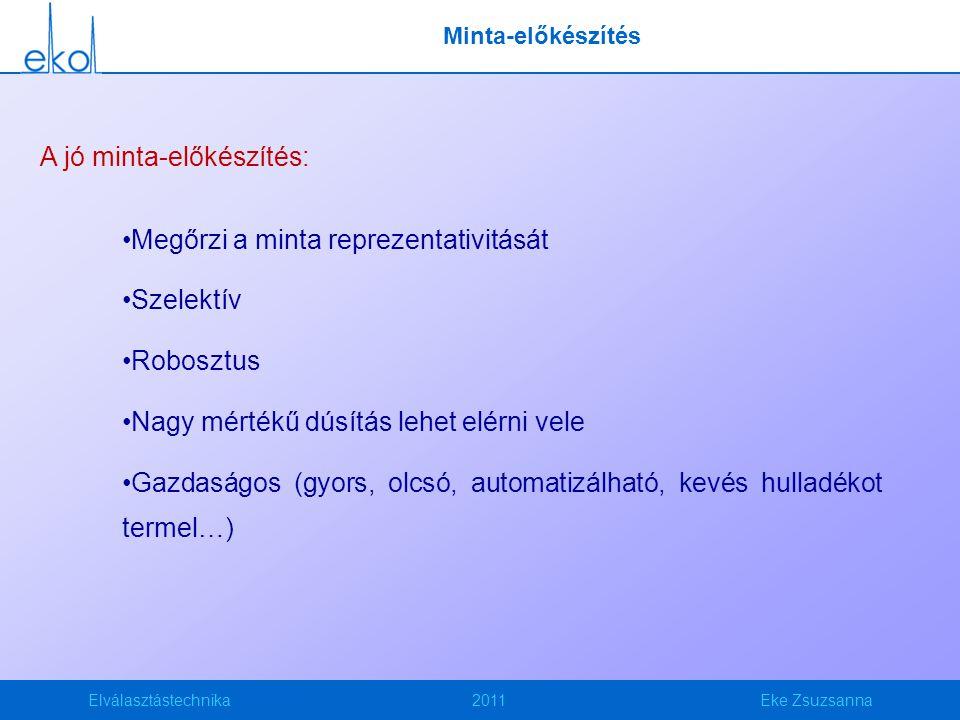 Elválasztástechnika2011Eke Zsuzsanna Minta-előkészítés A jó minta-előkészítés: Megőrzi a minta reprezentativitását Szelektív Robosztus Nagy mértékű dú