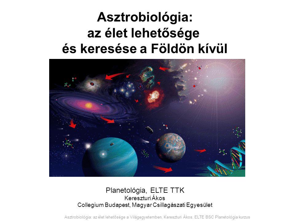 Asztrobiológia: az élet lehetősége és keresése a Földön kívül Planetológia, ELTE TTK Kereszturi Ákos Collegium Budapest, Magyar Csillagászati Egyesüle