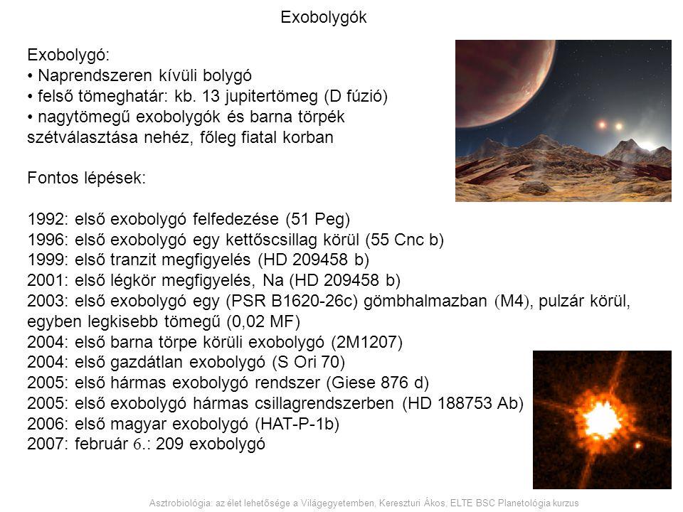 Exobolygók Exobolygó: Naprendszeren kívüli bolygó felső tömeghatár: kb. 13 jupitertömeg (D fúzió) nagytömegű exobolygók és barna törpék szétválasztása