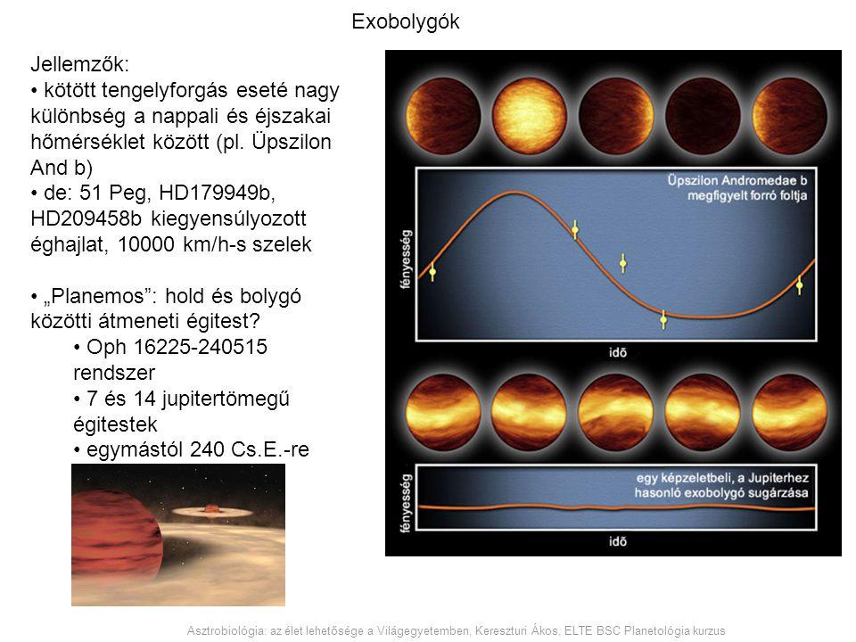Exobolygók Jellemzők: kötött tengelyforgás eseté nagy különbség a nappali és éjszakai hőmérséklet között (pl. Üpszilon And b) de: 51 Peg, HD179949b, H