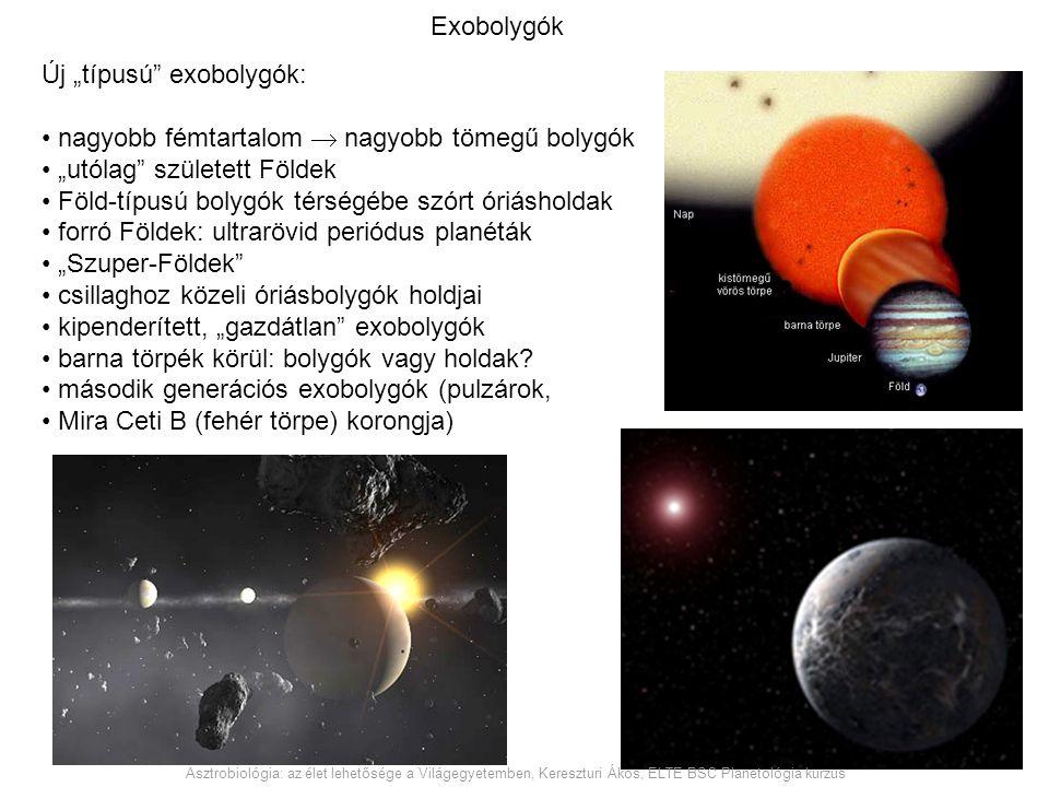 """Exobolygók Új """"típusú"""" exobolygók: nagyobb fémtartalom  nagyobb tömegű bolygók """"utólag"""" született Földek Föld-típusú bolygók térségébe szórt óriáshol"""