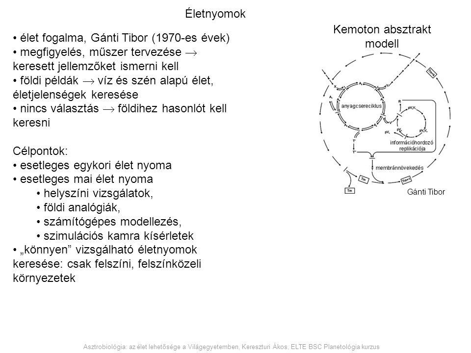 élet fogalma, Gánti Tibor (1970-es évek) megfigyelés, műszer tervezése  keresett jellemzőket ismerni kell földi példák  víz és szén alapú élet, élet