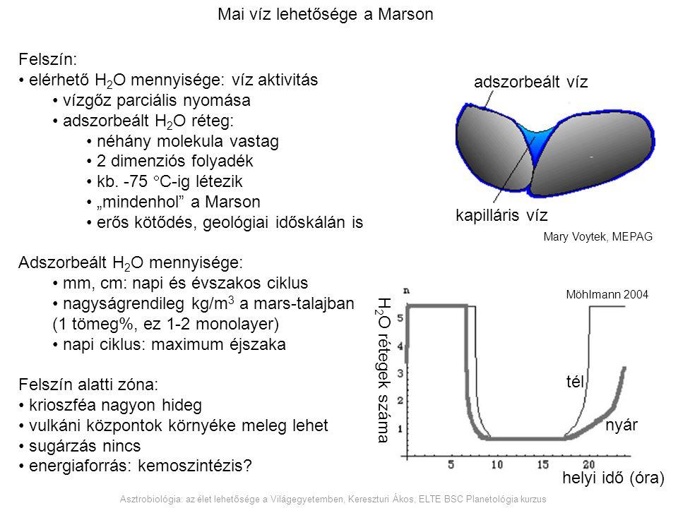Felszín: elérhető H 2 O mennyisége: víz aktivitás vízgőz parciális nyomása adszorbeált H 2 O réteg: néhány molekula vastag 2 dimenziós folyadék kb. -7