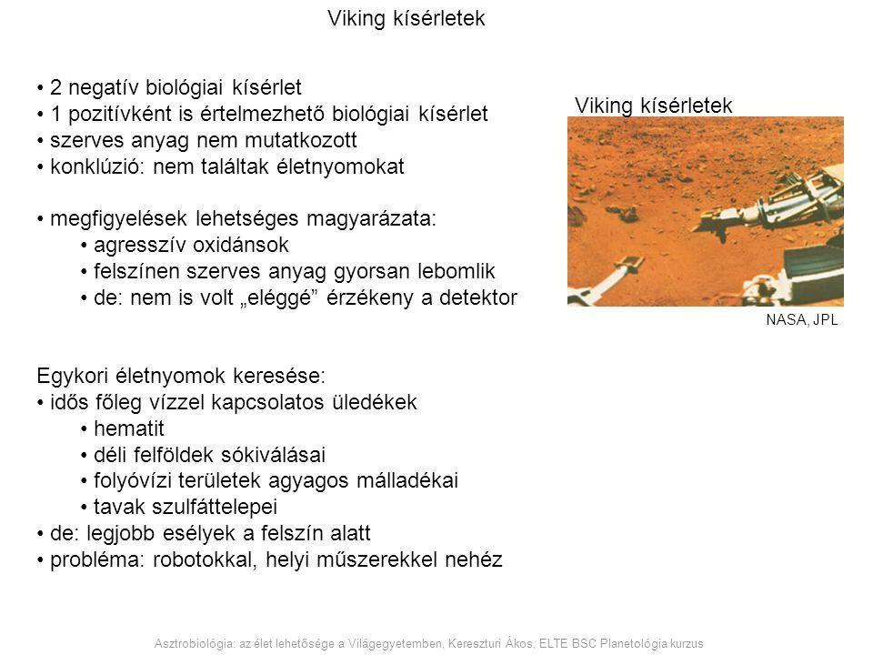 Viking kísérletek Asztrobiológia: az élet lehetősége a Világegyetemben, Kereszturi Ákos, ELTE BSC Planetológia kurzus Viking kísérletek NASA, JPL 2 ne